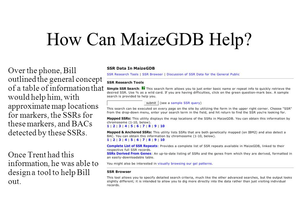 How Can MaizeGDB Help? Over the phone, Bill outlined the general concept of a table of information that would help him, with approximate map locations