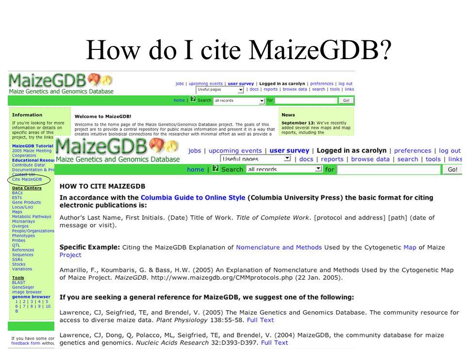 How do I cite MaizeGDB?