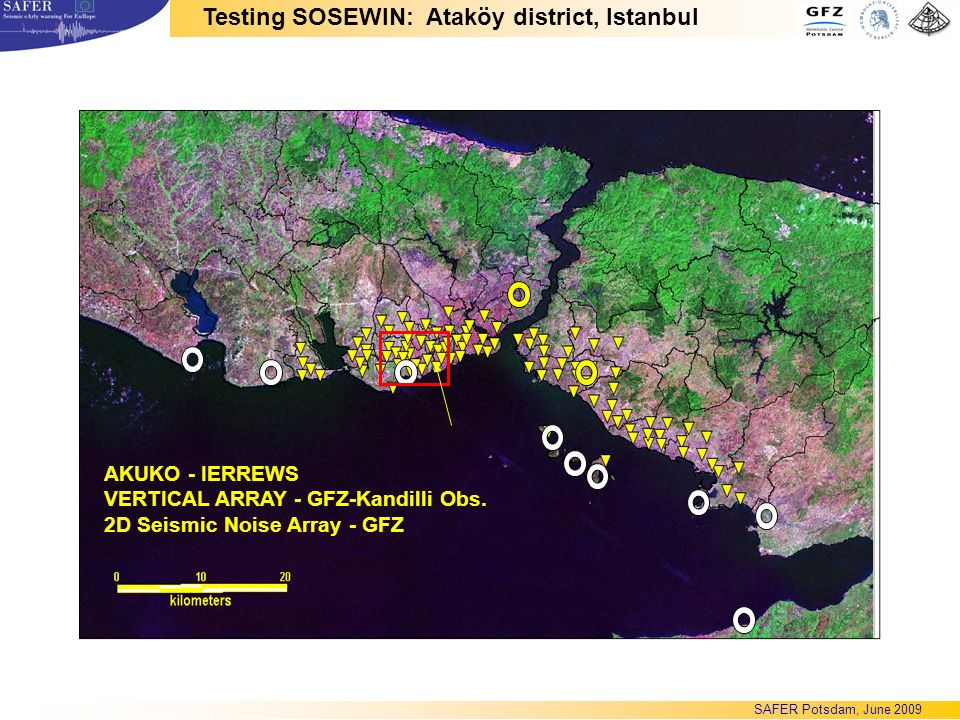 AKUKO - IERREWS VERTICAL ARRAY - GFZ-Kandilli Obs. 2D Seismic Noise Array - GFZ Testing SOSEWIN: Ataköy district, Istanbul SAFER Potsdam, June 2009