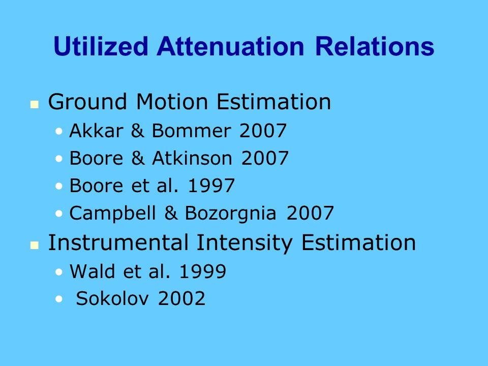 Utilized Attenuation Relations Ground Motion Estimation Akkar & Bommer 2007 Boore & Atkinson 2007 Boore et al. 1997 Campbell & Bozorgnia 2007 Instrume