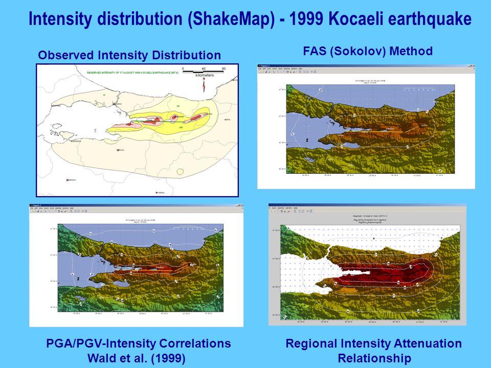 Intensity distribution (ShakeMap) - 1999 Kocaeli earthquake Observed Intensity Distribution FAS (Sokolov) Method PGA/PGV-Intensity Correlations Wald e