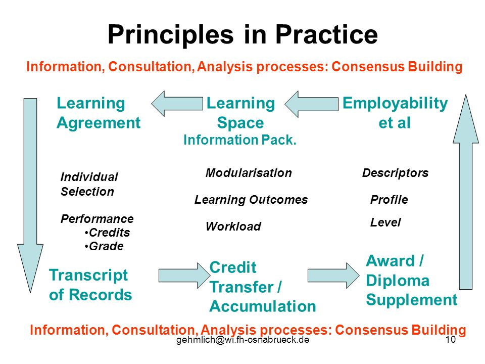 Principles in Practice Information, Consultation, Analysis processes: Consensus Building Employability et al Learning Space Information Pack.