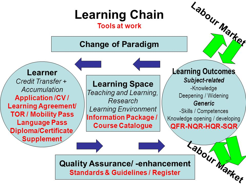 Learning Chain Tools at work Learning Outcomes Subject-related -Knowledge Deepening / Widening Generic -Skills / Competences Knowledge opening / developing QFR-NQR-HQR-SQR Learner Credit Transfer + Accumulation Application /CV / Learning Agreement/ TOR / Mobility Pass Language Pass Diploma/Certificate Supplement Learning Space Teaching and Learning, Research Learning Environment Information Package / Course Catalogue Change of Paradigm Quality Assurance/ -enhancement Standards & Guidelines / Register Labour Market