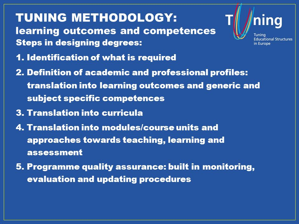 osnabrueck.de 2 TUNING METHODOLOGY: learning outcomes and competences Steps in designing degrees: 1.
