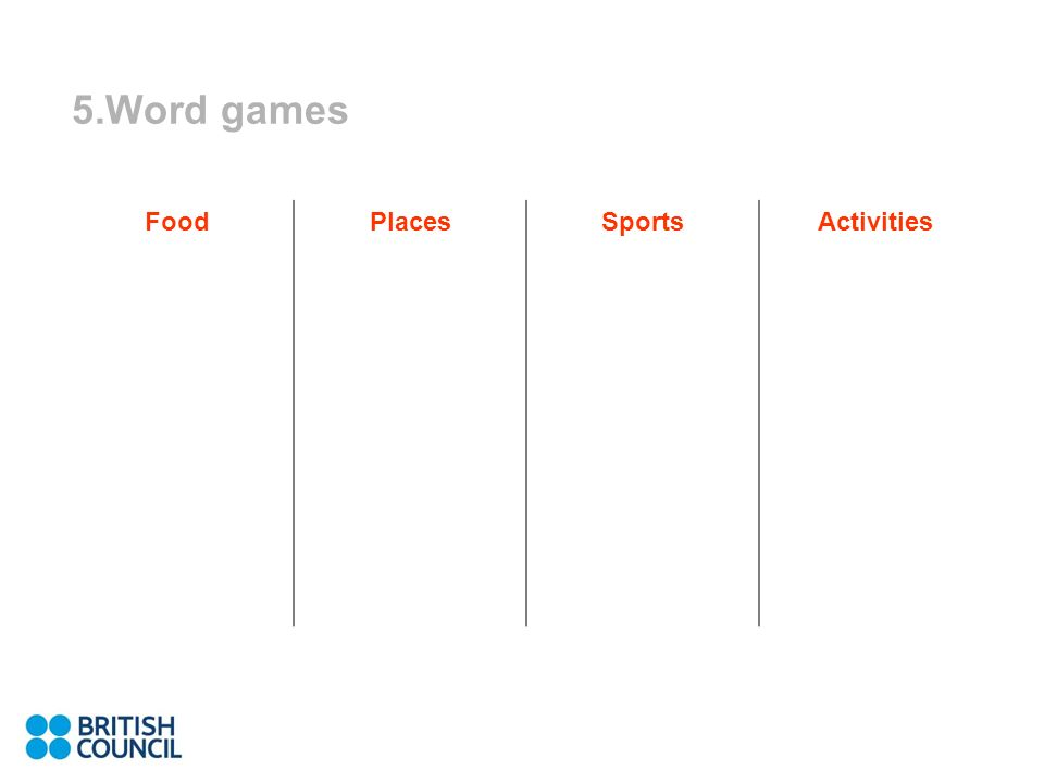 5.Word games FoodPlacesSportsActivities