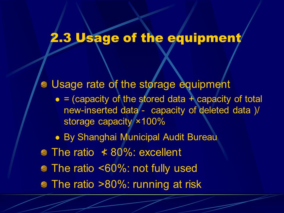 2.3 Usage of the equipment Usage rate of the storage equipment = (capacity of the stored data + capacity of total new-inserted data capacity of delete