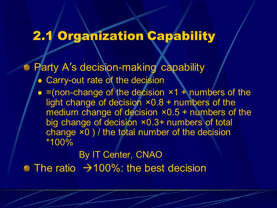 2.1 Organization Capability Party A s decision-making capability Carry-out rate of the decision =(non-change of the decision ×1 + numbers of the light