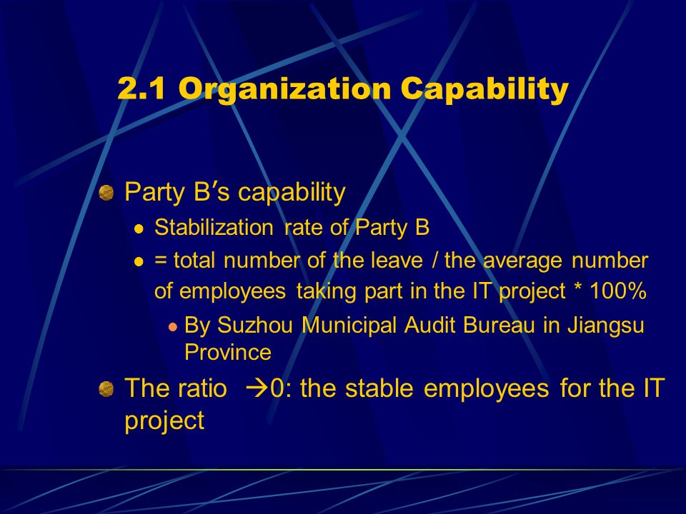 2.1 Organization Capability Party B s capability Stabilization rate of Party B = total number of the leave / the average number of employees taking part in the IT project * 100% By Suzhou Municipal Audit Bureau in Jiangsu Province The ratio 0: the stable employees for the IT project