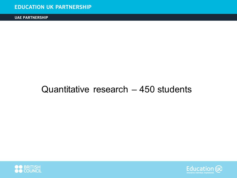 Quantitative research – 450 students