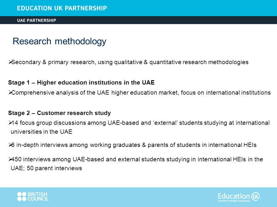Institutions entering the market should invest in building relationships with key decision makers and emirate-based higher education governing bodies and possess quality market intelligence Public-private partnerships and privatisation of the higher and further education sector is supported by federal and individual emirate initiatives In Abu Dhabi, funding is made available based on value proposition, track record, brand standing and evidence of longer term commitment on the part of the institution Elements of the value proposition should highlight exposure to relevant corporate and international experiences to enhance learning (e.g.