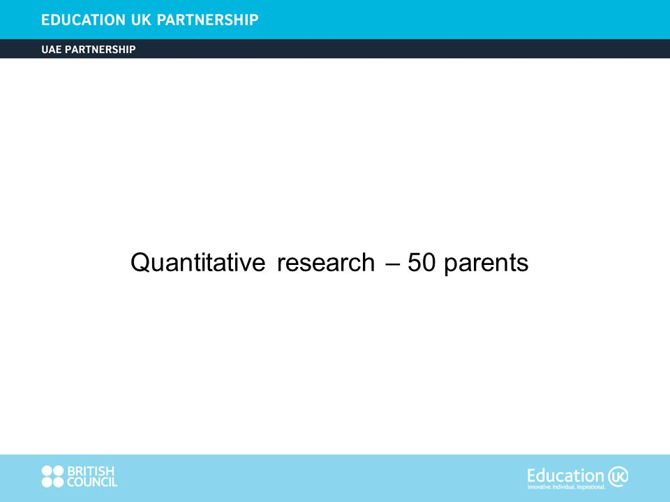 Quantitative research – 50 parents