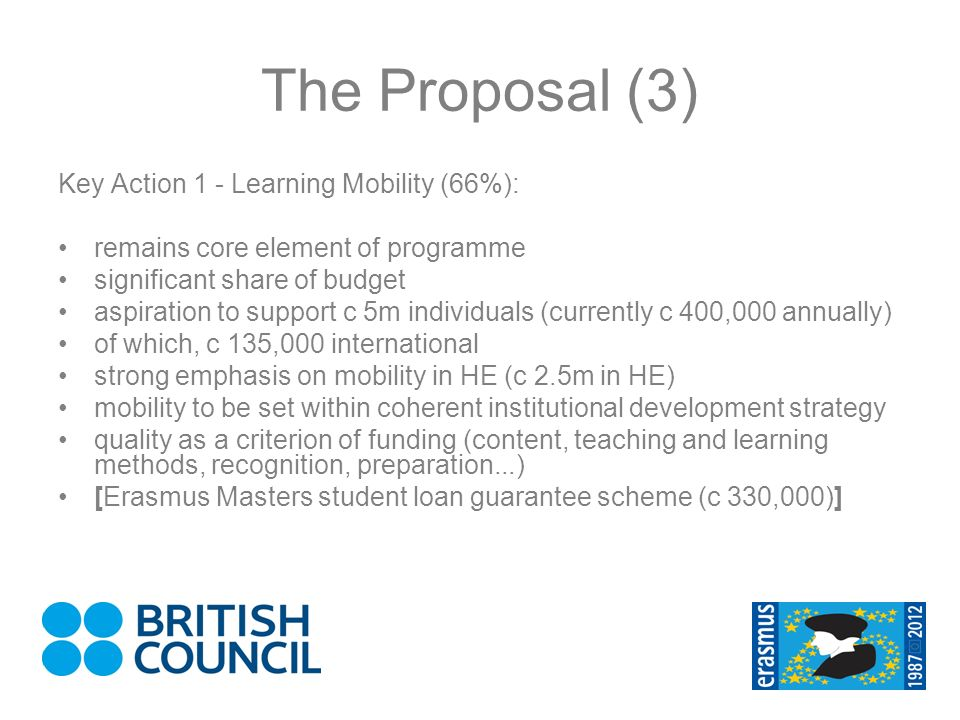 The Proposal (3) Key Action 1 - Learning Mobility (66%): remains core element of programme significant share of budget aspiration to support c 5m individuals (currently c 400,000 annually) of which, c 135,000 international strong emphasis on mobility in HE (c 2.5m in HE) mobility to be set within coherent institutional development strategy quality as a criterion of funding (content, teaching and learning methods, recognition, preparation...) [Erasmus Masters student loan guarantee scheme (c 330,000)]