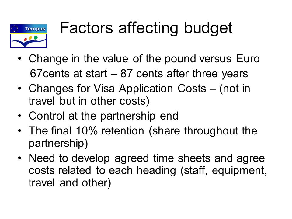Factors affecting budget Change in the value of the pound versus Euro 67cents at start – 87 cents after three years Changes for Visa Application Costs