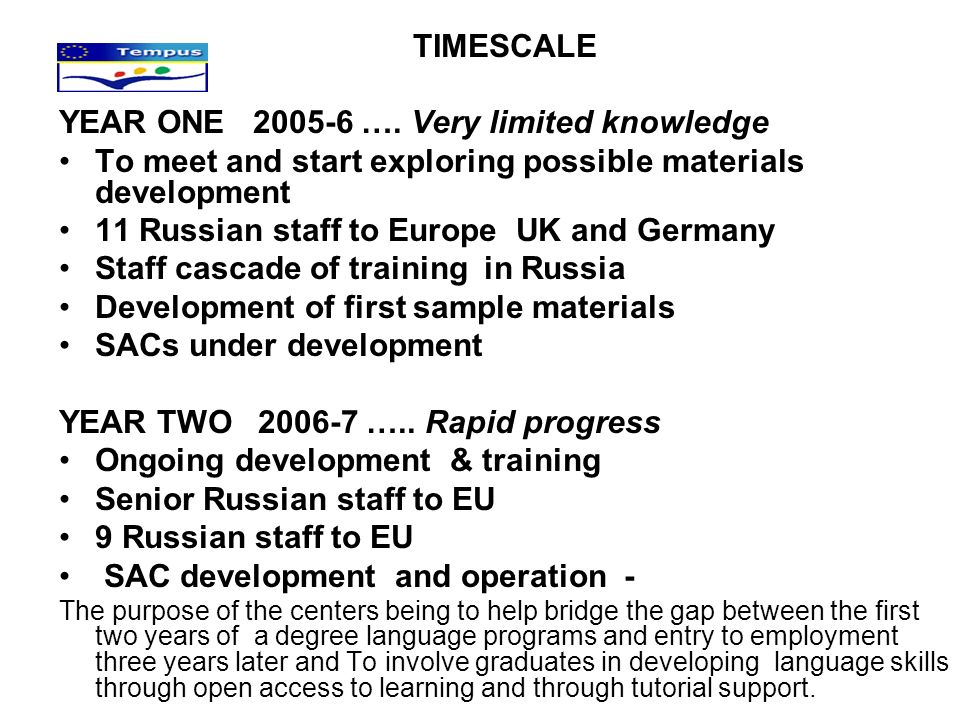 TIMESCALE YEAR ONE 2005-6 …. Very limited knowledge To meet and start exploring possible materials development 11 Russian staff to Europe UK and Germa