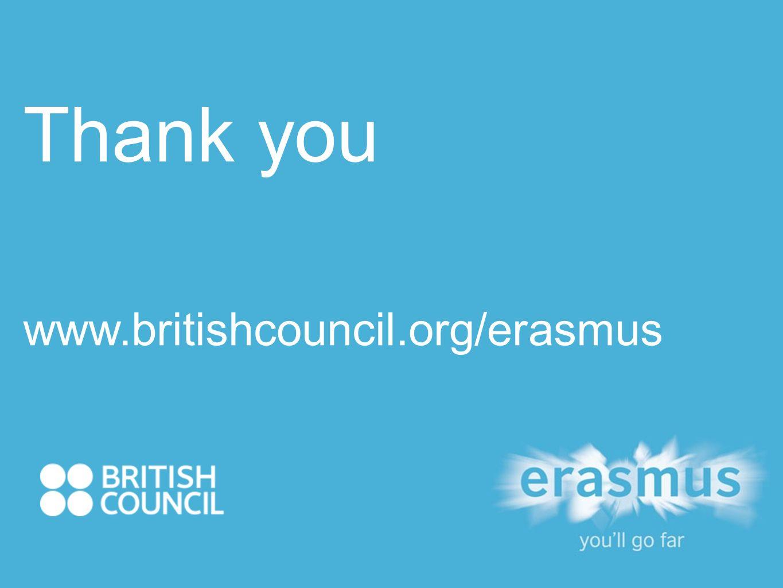 Thank you www.britishcouncil.org/erasmus