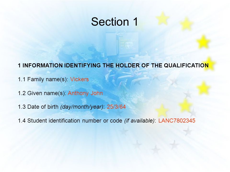 Section 1 1 INFORMATION IDENTIFYING THE HOLDER OF THE QUALIFICATION 1.1 Family name(s): Vickers 1.2 Given name(s): Anthony John 1.3 Date of birth (day