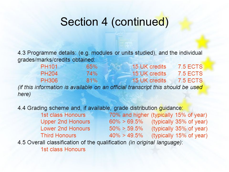 Section 4 (continued) 4.3 Programme details: (e.g. modules or units studied), and the individual grades/marks/credits obtained: PH10165%15 UK credits7