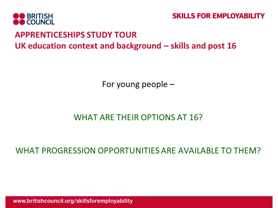 APPRENTICESHIPS STUDY TOUR UK education context and background – skills and post 16 For young people – WHAT ARE THEIR OPTIONS AT 16? WHAT PROGRESSION