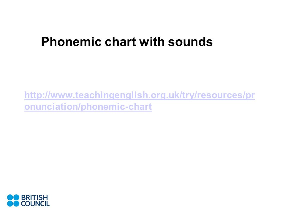 Phonemic chart with sounds http://www.teachingenglish.org.uk/try/resources/pr onunciation/phonemic-chart