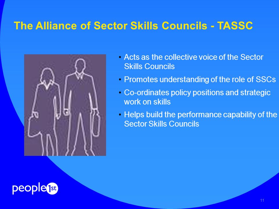 11 The Alliance of Sector Skills Councils - TASSC Acts as the collective voice of the Sector Skills Councils Promotes understanding of the role of SSCs Co-ordinates policy positions and strategic work on skills Helps build the performance capability of the Sector Skills Councils