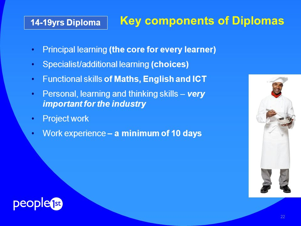 22 Key components of Diplomas Principal learning (the core for every learner) Specialist/additional learning (choices) Functional skills of Maths, Eng