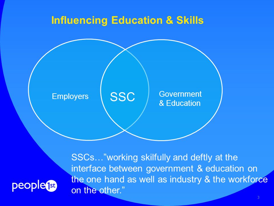 3 Influencing Education & Skills SSC Employers Government & Education SSCs…working skilfully and deftly at the interface between government & education on the one hand as well as industry & the workforce on the other.
