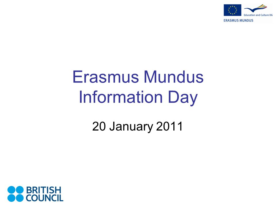 Erasmus Mundus Information Day 20 January 2011