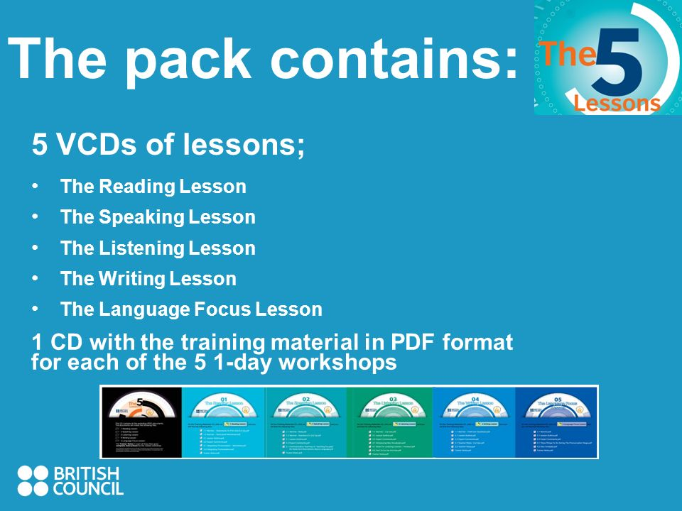 The pack contains: 5 VCDs of lessons; The Reading Lesson The Speaking Lesson The Listening Lesson The Writing Lesson The Language Focus Lesson 1 CD with the training material in PDF format for each of the 5 1-day workshops