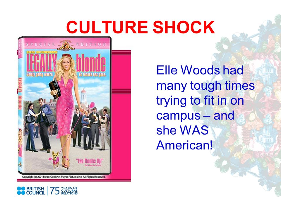 CULTURE SHOCK Elle Woods had many tough times trying to fit in on campus – and she WAS American!
