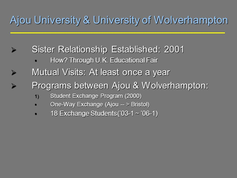 Ajou University & University of Wolverhampton Sister Relationship Established: 2001 Sister Relationship Established: 2001 How.