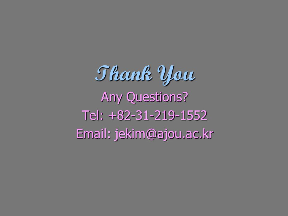 Thank You Any Questions? Tel: +82-31-219-1552 Email: jekim@ajou.ac.kr