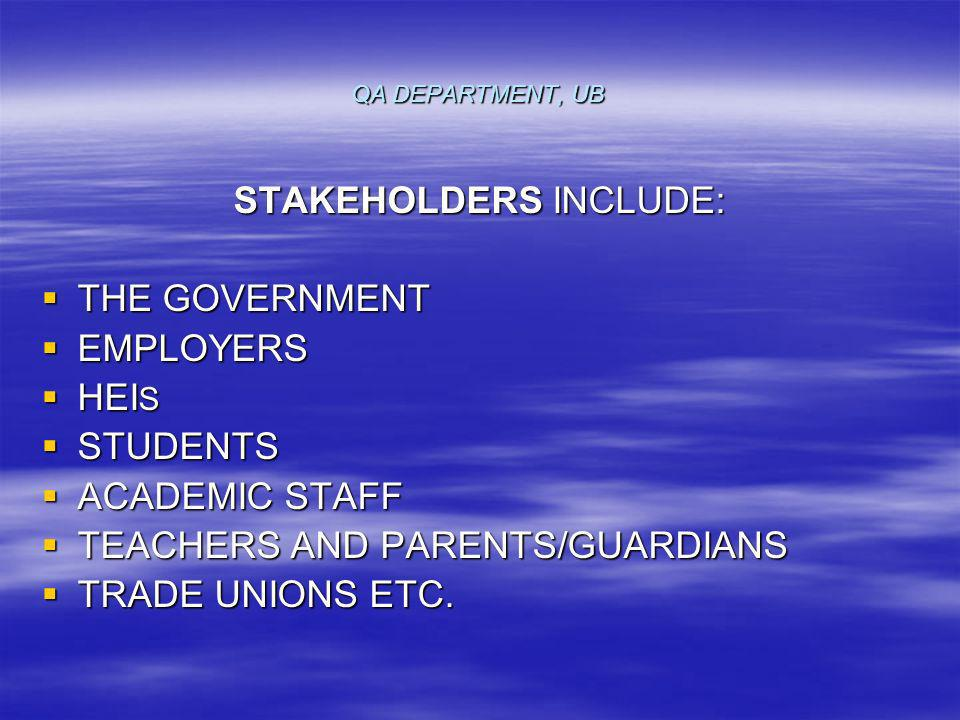 QA DEPARTMENT, UB STAKEHOLDERS INCLUDE: THE GOVERNMENT THE GOVERNMENT EMPLOYERS EMPLOYERS HEI S HEI S STUDENTS STUDENTS ACADEMIC STAFF ACADEMIC STAFF