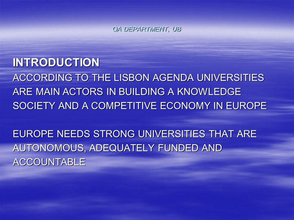 QA DEPARTMENT, UB THE BOLOGNA PROCESS HAS EMPHASIZED THE NECESSITY OF PROMOTION OF QUALITY ASSURANCE (QA) AND EMPLOYABILITY ACROSS EUROPE THE AIM OF OUR PAPER IS TO HIGHLIGHT THE ROLE OF QA IN HE FOR ENHANCING EMPLOYABILITY BY PRESENTING THE CASE OF THE UNIVERSITY OF BUCHAREST