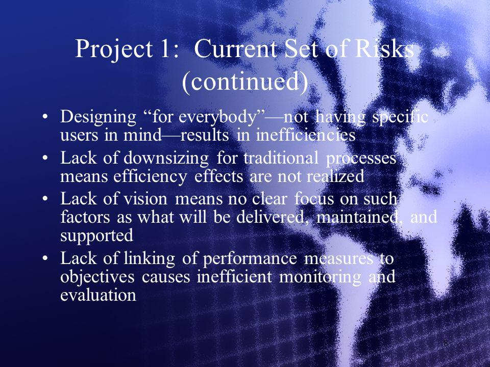 8 Project 1: Current Set of Risks (continued) Designing for everybodynot having specific users in mindresults in inefficiencies Lack of downsizing for traditional processes means efficiency effects are not realized Lack of vision means no clear focus on such factors as what will be delivered, maintained, and supported Lack of linking of performance measures to objectives causes inefficient monitoring and evaluation
