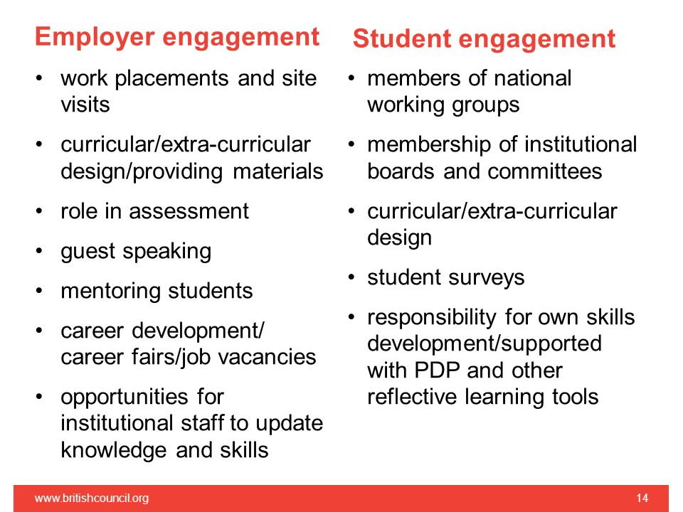 Employer engagement work placements and site visits curricular/extra-curricular design/providing materials role in assessment guest speaking mentoring
