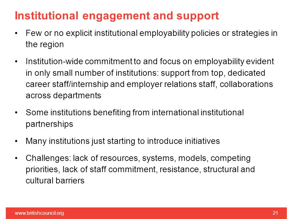 Institutional engagement and support Few or no explicit institutional employability policies or strategies in the region Institution-wide commitment t