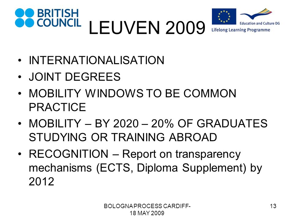 BOLOGNA PROCESS CARDIFF- 18 MAY 2009 13 LEUVEN 2009 INTERNATIONALISATION JOINT DEGREES MOBILITY WINDOWS TO BE COMMON PRACTICE MOBILITY – BY 2020 – 20% OF GRADUATES STUDYING OR TRAINING ABROAD RECOGNITION – Report on transparency mechanisms (ECTS, Diploma Supplement) by 2012