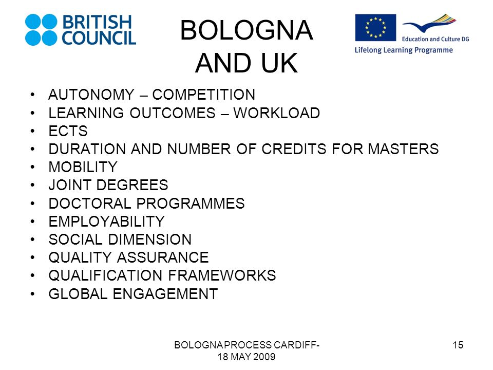 BOLOGNA PROCESS CARDIFF- 18 MAY 2009 15 BOLOGNA AND UK AUTONOMY – COMPETITION LEARNING OUTCOMES – WORKLOAD ECTS DURATION AND NUMBER OF CREDITS FOR MASTERS MOBILITY JOINT DEGREES DOCTORAL PROGRAMMES EMPLOYABILITY SOCIAL DIMENSION QUALITY ASSURANCE QUALIFICATION FRAMEWORKS GLOBAL ENGAGEMENT