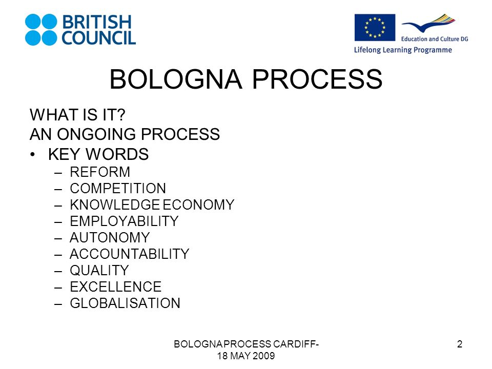 BOLOGNA PROCESS CARDIFF- 18 MAY 2009 2 BOLOGNA PROCESS WHAT IS IT.