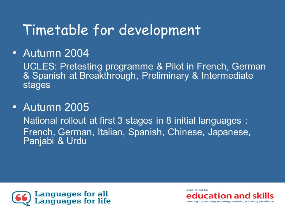 Timetable for development Autumn 2004 UCLES: Pretesting programme & Pilot in French, German & Spanish at Breakthrough, Preliminary & Intermediate stages Autumn 2005 National rollout at first 3 stages in 8 initial languages : French, German, Italian, Spanish, Chinese, Japanese, Panjabi & Urdu