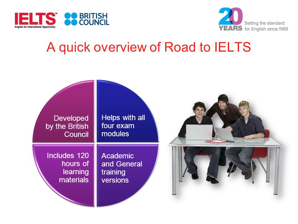 A quick overview of Road to IELTS Helps with all four exam modules Developed by the British Council Includes 120 hours of learning materials Academic and General training versions