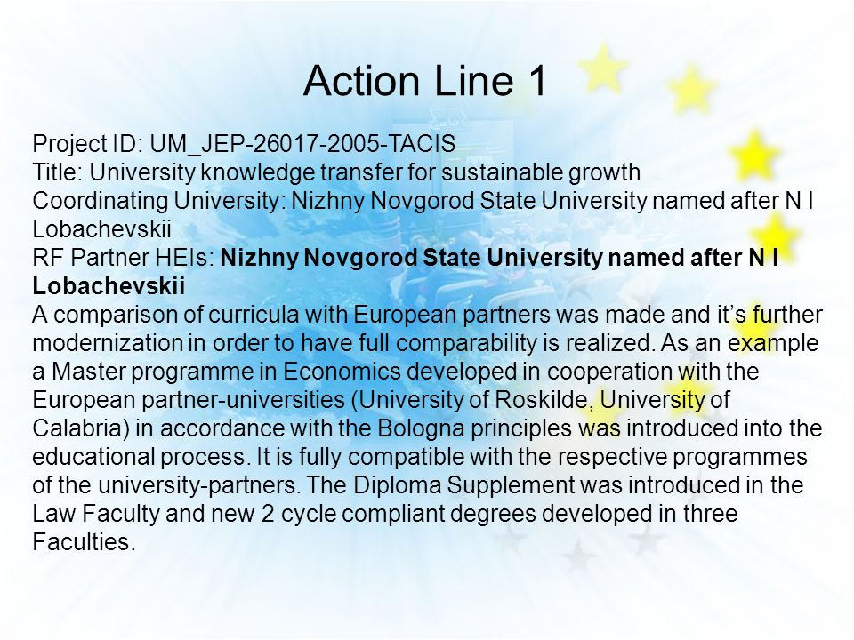 Action Line 1 Project ID: UM_JEP-26017-2005-TACIS Title: University knowledge transfer for sustainable growth Coordinating University: Nizhny Novgorod State University named after N I Lobachevskii RF Partner HEIs: Nizhny Novgorod State University named after N I Lobachevskii A comparison of curricula with European partners was made and its further modernization in order to have full comparability is realized.