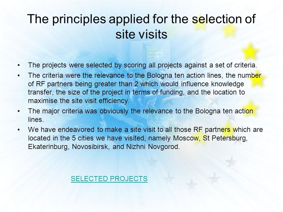 The principles applied for the selection of site visits The projects were selected by scoring all projects against a set of criteria.