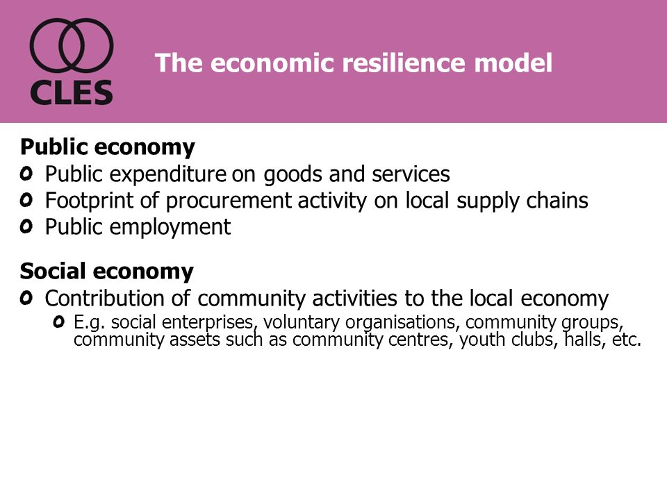 The economic resilience model Public economy Public expenditure on goods and services Footprint of procurement activity on local supply chains Public employment Social economy Contribution of community activities to the local economy E.g.