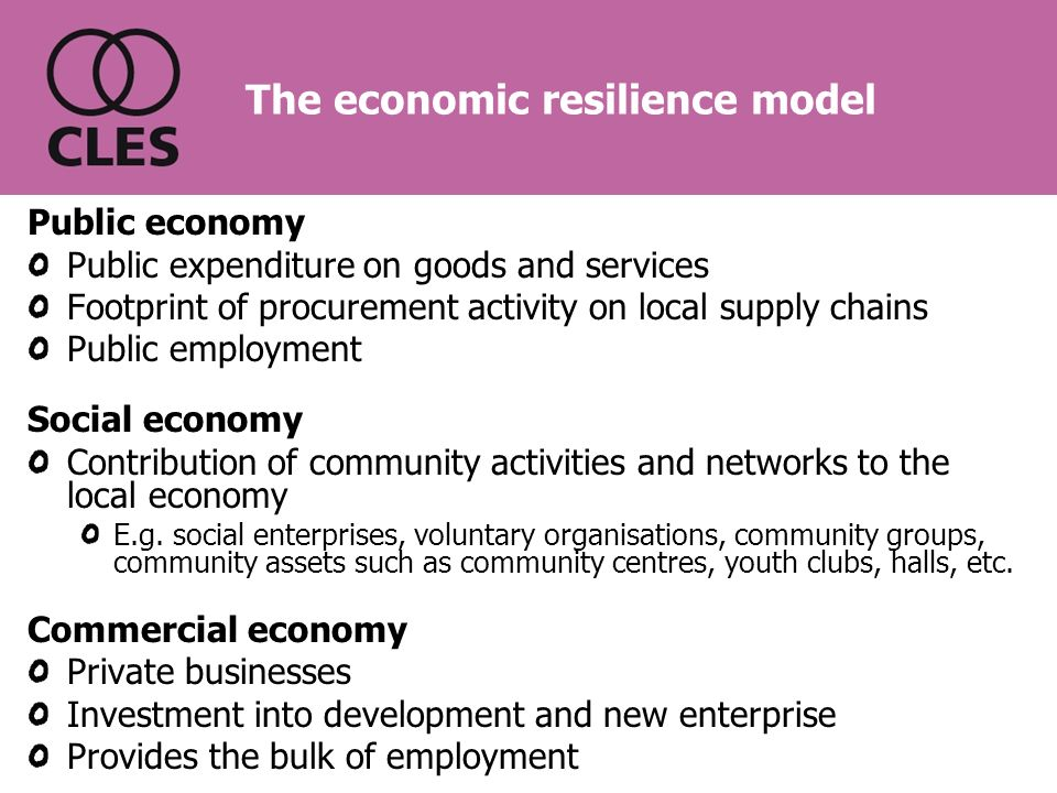 The economic resilience model Public economy Public expenditure on goods and services Footprint of procurement activity on local supply chains Public employment Social economy Contribution of community activities and networks to the local economy E.g.