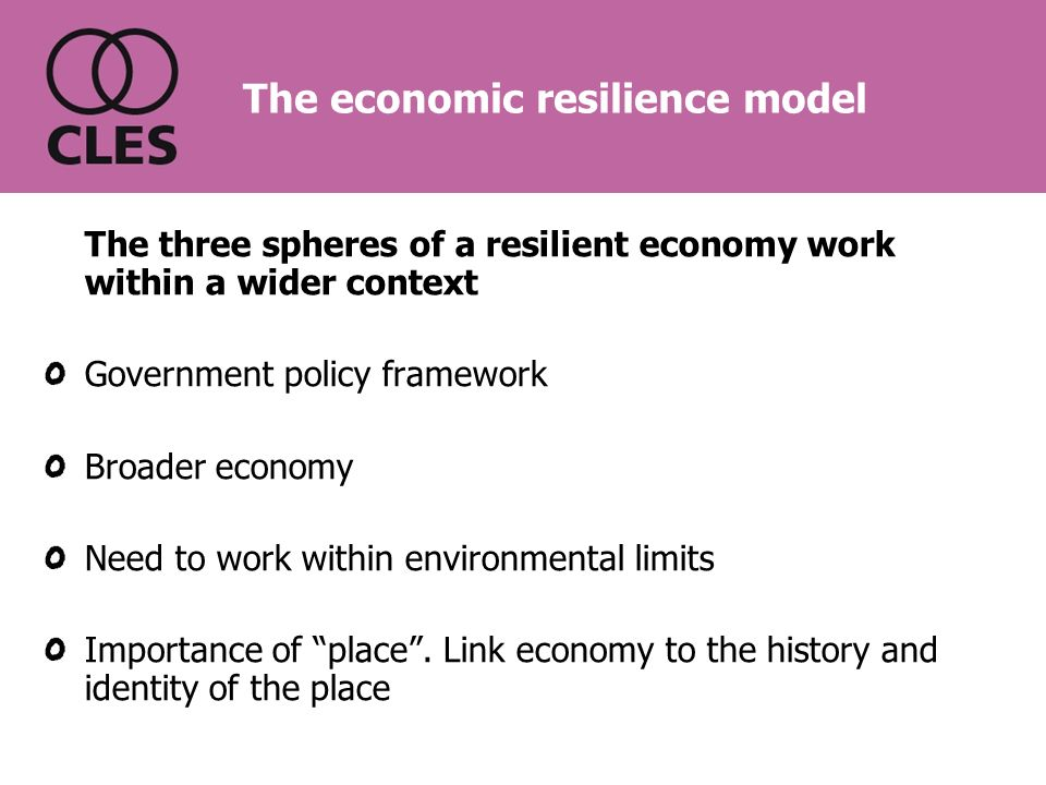 The three spheres of a resilient economy work within a wider context Government policy framework Broader economy Need to work within environmental limits Importance of place.