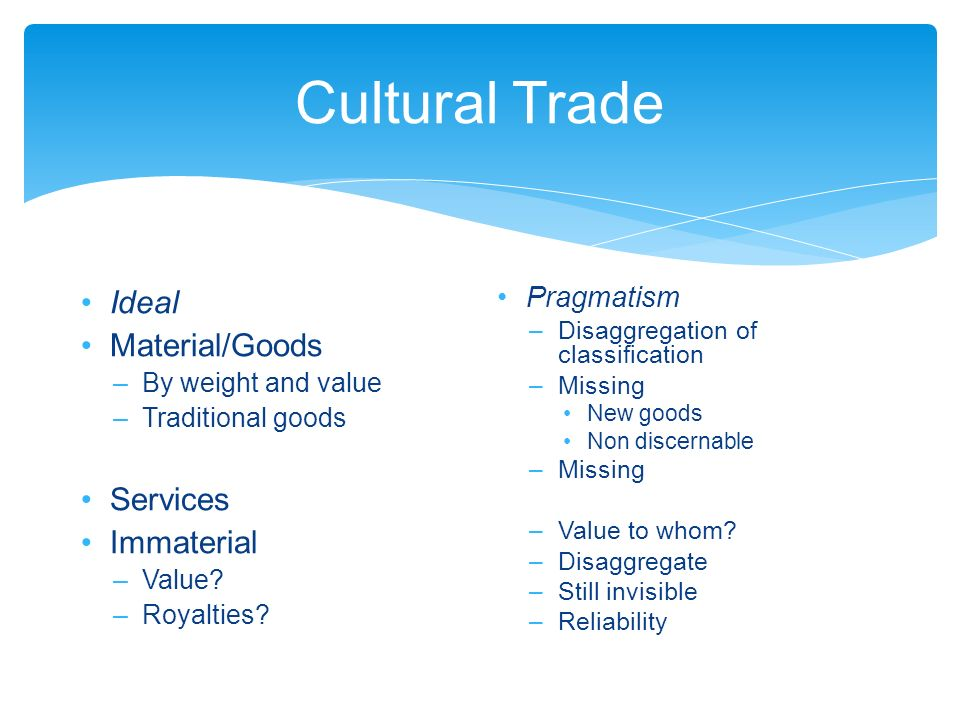 Cultural Trade Ideal Material/Goods –By weight and value –Traditional goods Services Immaterial –Value.