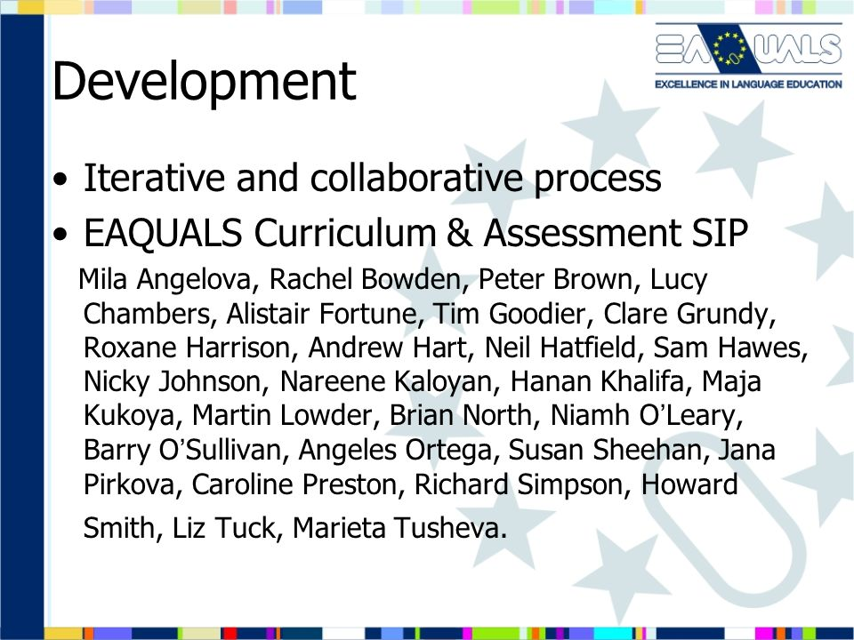 Development Stage 1 Data Collection and Analysis Stage 2 Creation of Inventory Stage 3 Writing the exponents Stage 4 Identifying text types Stage 5 Writing CEFR-based scenarios