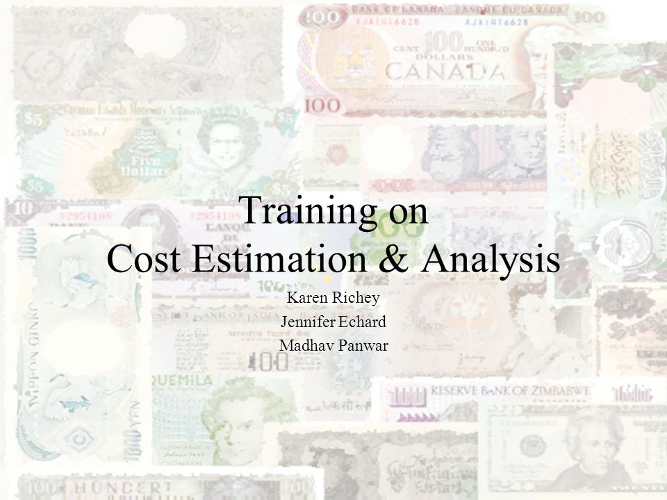 2 Outline Introduction to Cost Estimating Life Cycle Costs Data Collection Data Analysis Cost Estimating Methodologies Software Cost Modeling Cross-checks and Validation Risk and Sensitivity Analysis Documentation Requirements Cost Estimating Challenges Cost Estimating Auditor Checklists