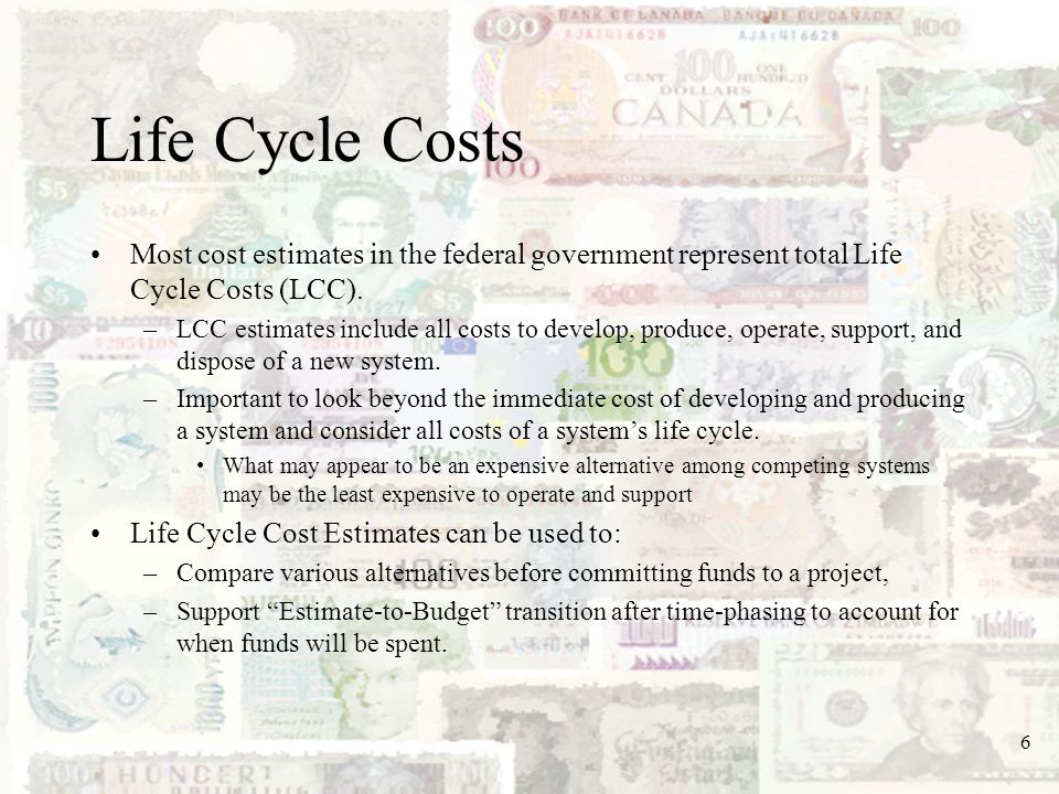 7 Life Cycle Costs (contd) A LCC estimate is summarized using a detailed cost element structure (CES) that –Identifies the activities required to complete project development and the effort, loading, and duration of each task, –Provides a framework against which the cost estimate is organized.